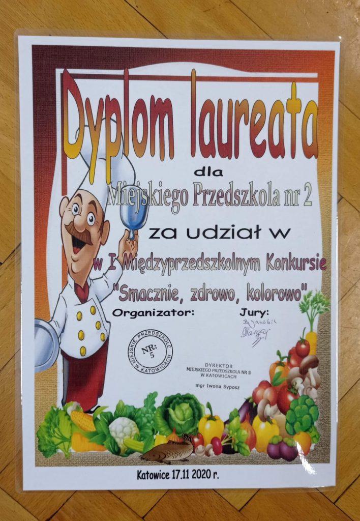 Dyplom laureata dla Miejskiego Przedszkola nr 2 za udział w Międzyprzedszkolny Konkursie Smacznie, zdrowo, kolorowo